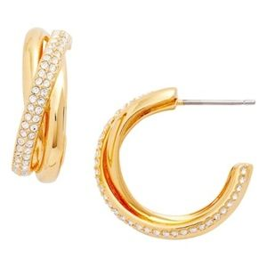 NADRI  Trinity Pave Hoop Earrings